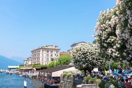 BELLAGIO, ITALY - JULY 5 2015: Bellagio pier,  Bellagio, Italy. Waterfront building at Bellagio, Como lake Editorial