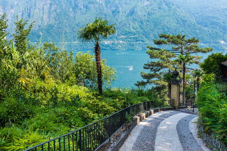 Walkway to The Villa del Balbianello, lake Como, Italy
