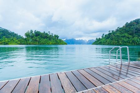 The deck at Ratchaprapa dam, Khao sok national park, Thailand.