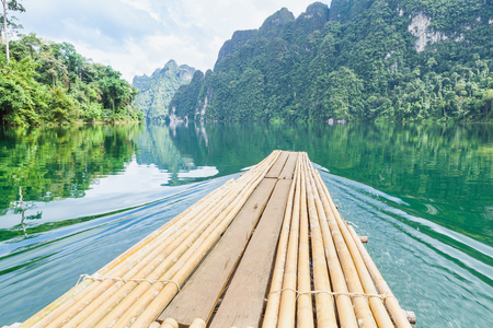 kao sok: The Floating bamboo raft on water at Ratchaprapha Dam at Khao Sok National Park, Suratthani Province, Thailand. Stock Photo