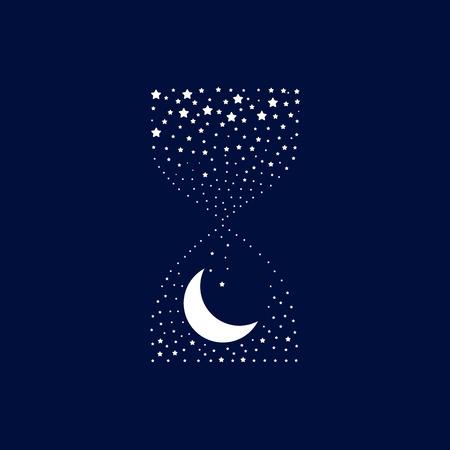 dia y la noche: Reloj de arena que mide el tiempo de la noche. Estrellas y la luna. idea conceptual. Buenas noches. Ilustración del vector.