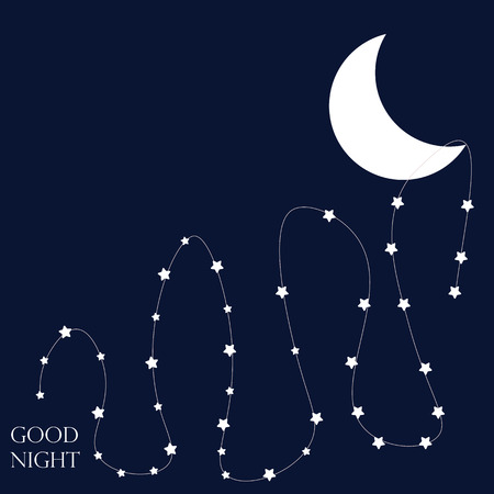 nights: Stars and moon. Conceptual idea. Good nights. Vector Illustration. ESP 8
