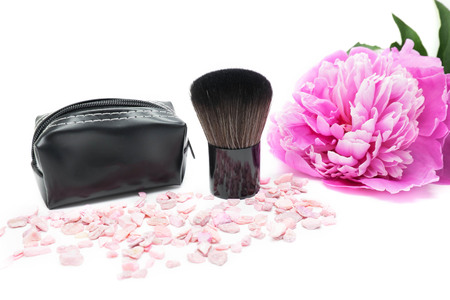 one brush, cosmetic brush for applying makeup on the face and body isolated on white background