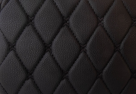 classic black leather Mat with straight black stitching soft leather for machine with textured pattern concept background fabric business