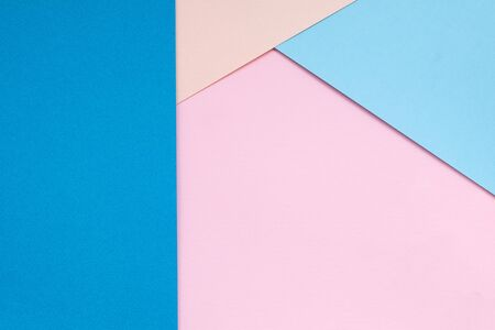 Color papers geometry flat composition background with blue tones. Paper background of blue and blue paper with triangle Stok Fotoğraf