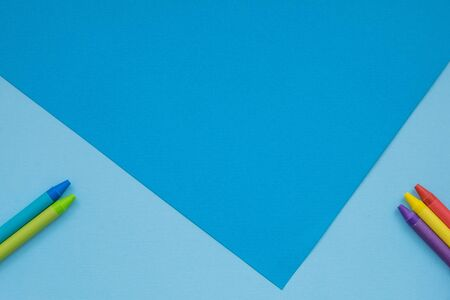 Color papers geometry flat composition background with blue tones. Paper background of blue and blue paper with triangle Stock Photo