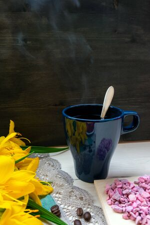 strawberry, heart a Cup of grain black coffee, with yellow flowers and a leaf together with a place for text