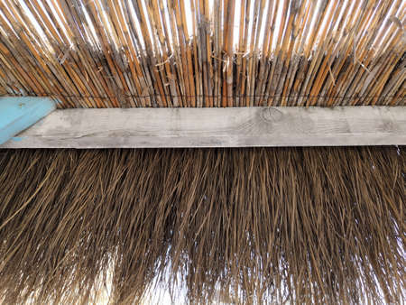 Thatched Roof with Sea and Sky in morning time. the roof of the Bungalow from the inside to the sky