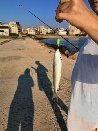Hand holding a fish caught on a fishing line in lake. fish on a hook caught by a fisherman