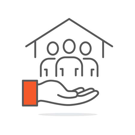 Community development line icon illustration vector symbol 向量圖像