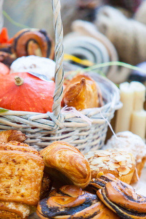 autumn picnic in the park with a basket and blanket Stock Photo