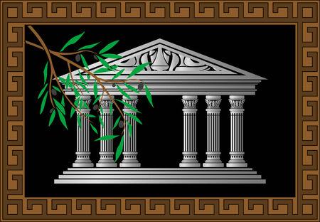 doric: Background greek temple, vector illustration