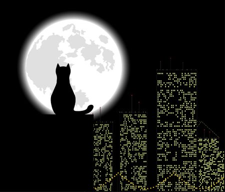 night view: Big city ang cat, background, vector illustration
