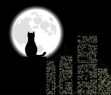 city night: Big city ang cat, background, vector illustration