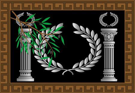 colonna romana: le colonne greche e la corona. illustrazione vettoriale  Vettoriali