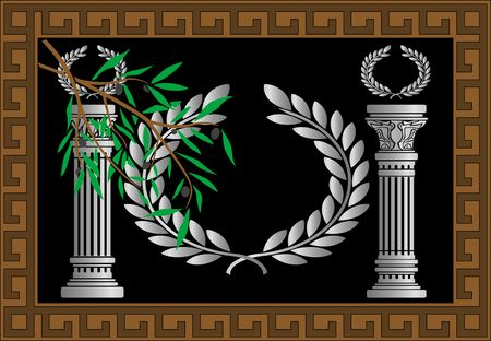 doric: the greek columns and wreath. vector illustration