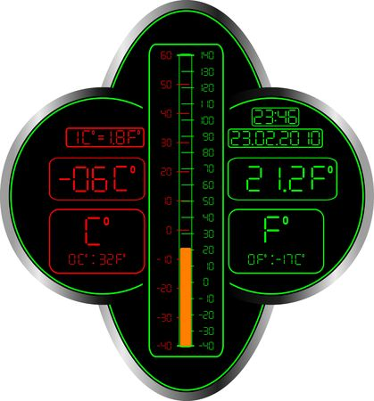 fahrenheit: Celsius and Fahrenheit thermometer. vector illustration Illustration