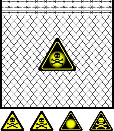 tel kafes: wire mesh fence and warning sign. vector illustration