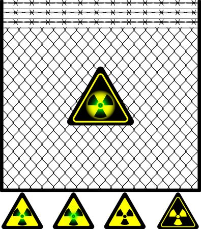 wire mesh fence and radiation sign. vector illustration Stock Vector - 6191669