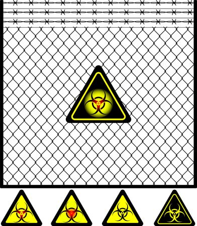 tel kafes: wire mesh fence and biohazard sign. vector illustration