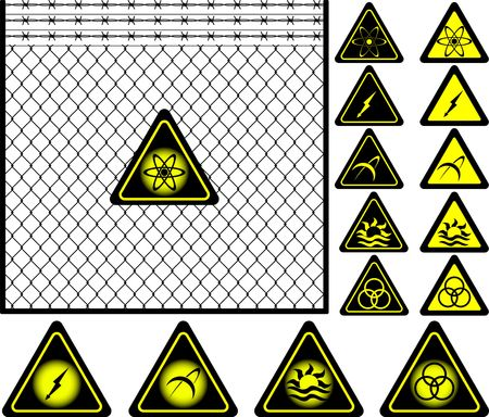 wire mesh fence and warning signs. vector illustration Stock Vector - 6191671
