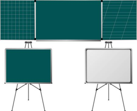 writing on screen: blackboards and easels.