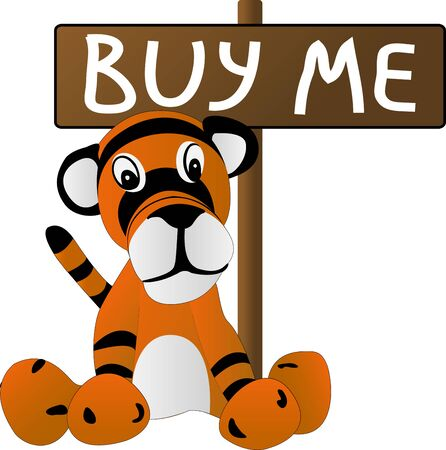 love sad: sad toy tiger cub. illustration