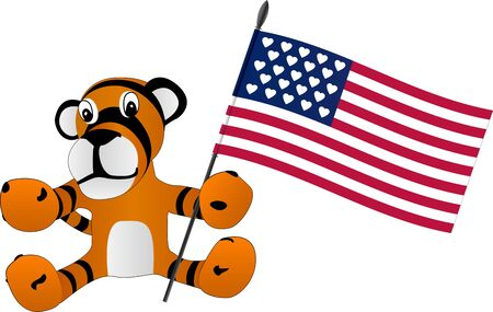 toy tiger cub with flag. illustration Vector