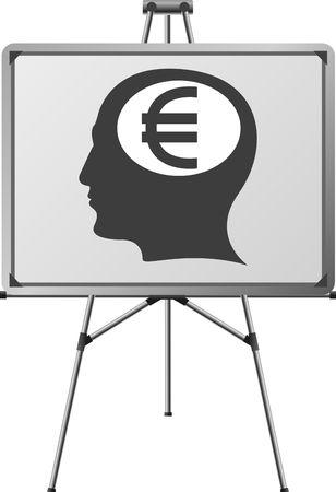 euro brain of a man. illustration Vector