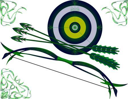 boogschutter: doel en fantasie boog.  Stock Illustratie