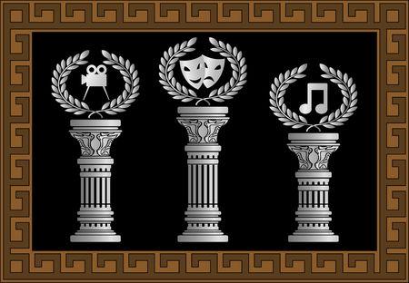 pedestal: pedestal of arts. vector illustration Illustration