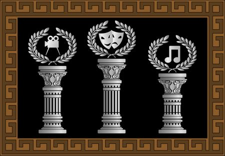 pedestal of arts. vector illustration