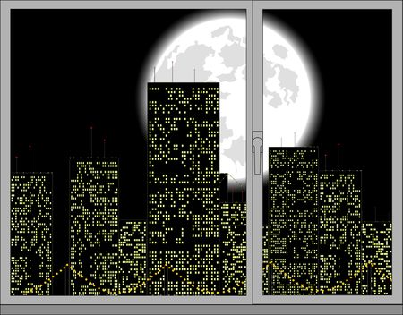 window view: view out of the window. vector illustration