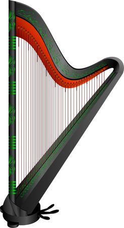 elven: fantasy Gothic harp.  illustration