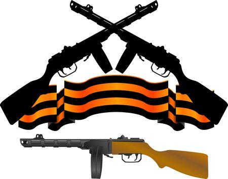machine-gun: soviet machinegun and georgievsky ribbon.  illustration