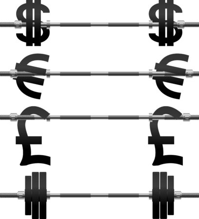 set of currency weights. illustration
