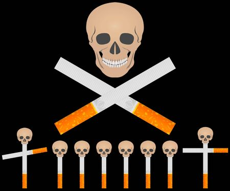 cemetery of cigarettes.  illustration Stock Vector - 6594474