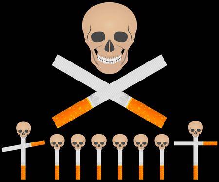 cemetery of cigarettes.  illustration Stock Vector - 6594474