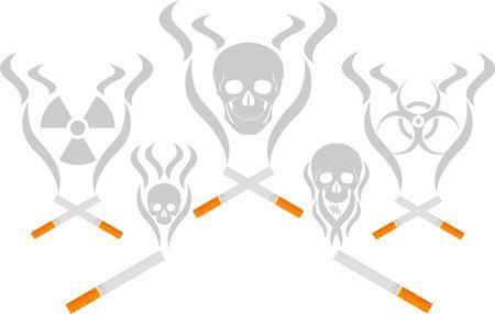 cigarette smoke and skulls. illustration Vector