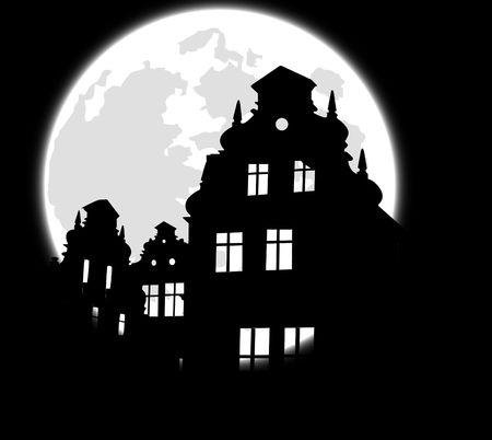 horror castle: castle ruin and moon.  Illustration