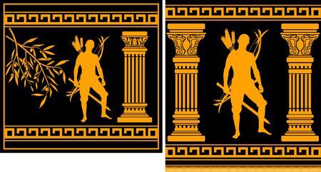 fantasy hellenic warrior. illustration Stock Vector - 6756040