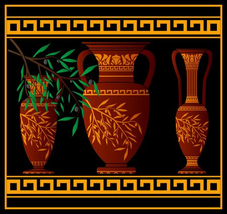 pottery: greek red amphoras and jug. illustration