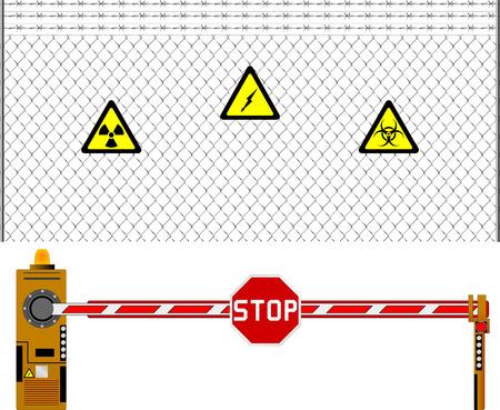 blocco stradale: maglia cancello di recinzione e di barriera. illustrazione
