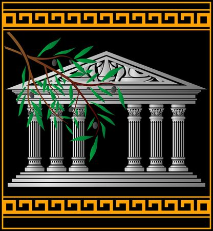 parthenon: greek temple and olive branch