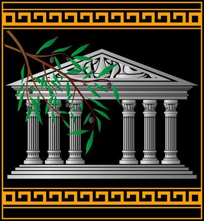 temple grec: temple grec et olive branch Illustration