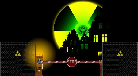 barrier gate and radiation sign Vector