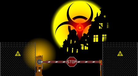 barrier gate and biohazard sign Stock Vector - 6800234