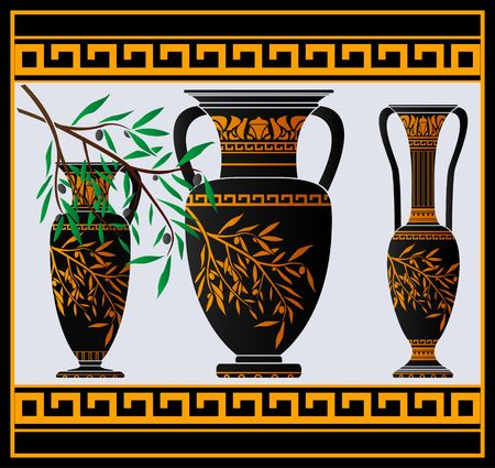 earthenware: greek amphoras and jug