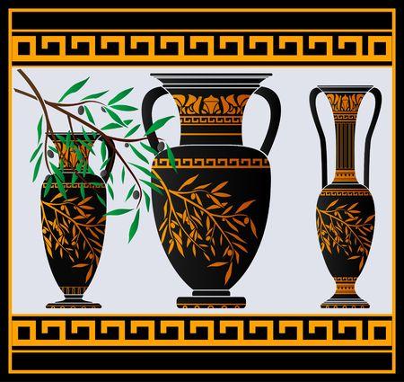 earthenware: �nforas griegos y jarra  Vectores