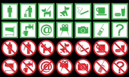set of signs. Vector